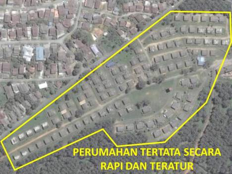 Perumahan Teratur, ukuran dan jarak antar rumah cenderung sama jika dibandingkan dengan perumahan di atasnya.