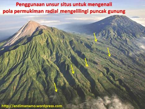 Pola permukiman radial/melingkar mengelilingi puncak gunung.